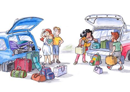 Baby im Beutel: In den Urlaub mit dem Auto und Kinderwagen - kein Platz für Gepäck - mit Tragehilfe - Platz genug für alles