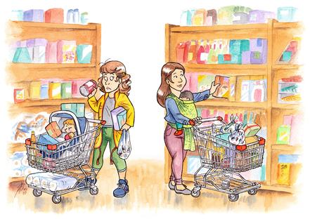 Baby im Beutel: Einkaufen mit Auto-Kindersitz - Einkaufswagen voll