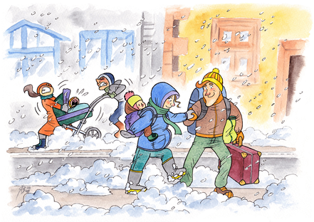 Baby im Beutel: Spaziergang im Schnee - mit dem Kinderwagen unmöglich, besser mit der Tragehilfe