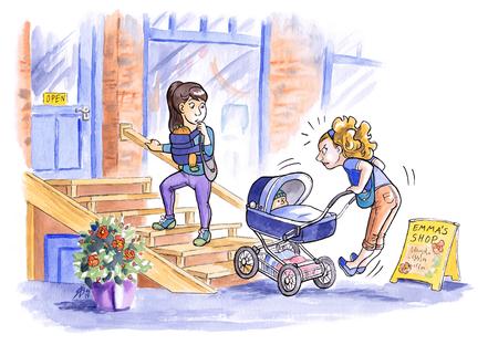 Baby im Beutel: Lieber Tragen statt Kinderwagen, schon geht es leicht die Treppe hinauf