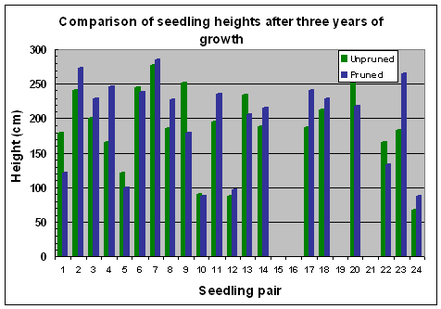 Fig. 10 Variation in seedling heights after 3 years of growth