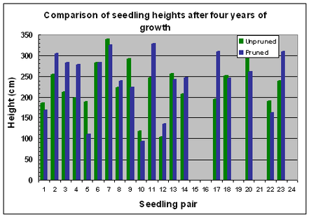 Fig. 14 Variation in seedling heights after 4 years of growth