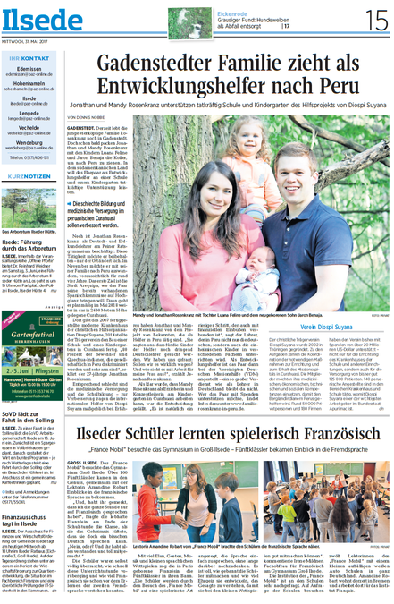 Peiner Allgemeine Zeitung vom 31.05.2017, verfasst von Dennis Nobbe