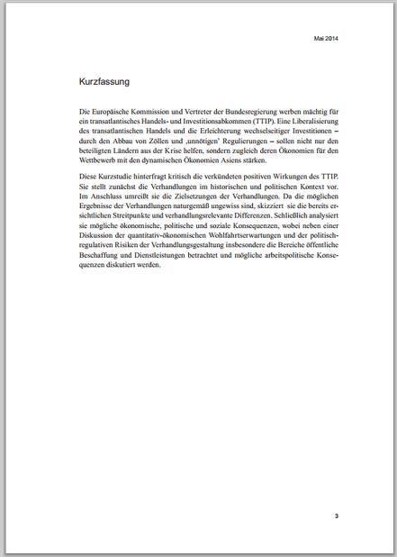 Hans Böckler Stiftung zu TTIP - Zusammenfassung