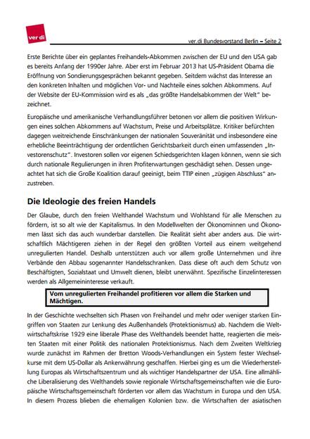 Stellungnahme Verdi zu TTIP - Seite 2 von 14