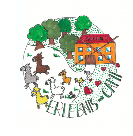 Logo, Alpaka, Lama, Alpakas, Lamas, Herde, Schule, Ferien, Schulferien, Feriencamp, Erlebniscamp, Bäume, Herde, Kinder, Kind, Schulfrei, Spaß, spielen, Schnitzeljagd, Bauernhof, Tier, Tiere