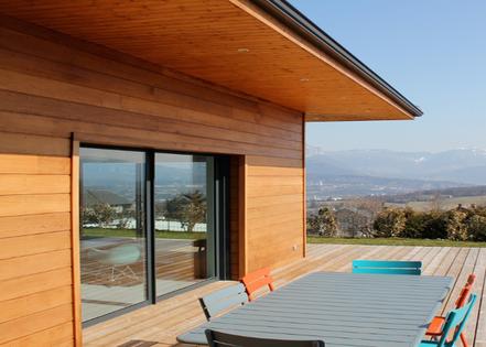 Baie coulissante bois aluminium à 2 vantaux