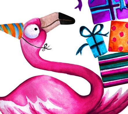 Crimson Kisses Greeting Card Range | Watercolour Flamingos | Design By Pie