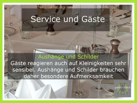 Aushänge und Schilder in der Gastronomie