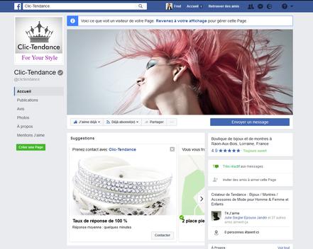 page facebook clic tendance.fr