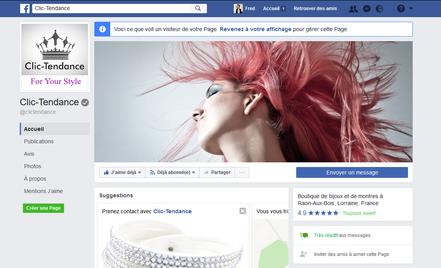 Bijoux et montres Clic-Tendance sur Facebook