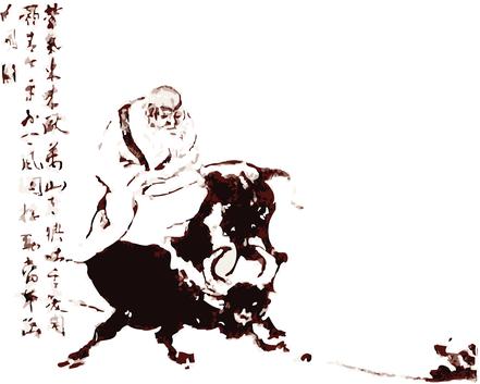 Laotse, Begründer des Tao Te King, reitet auf Stier.