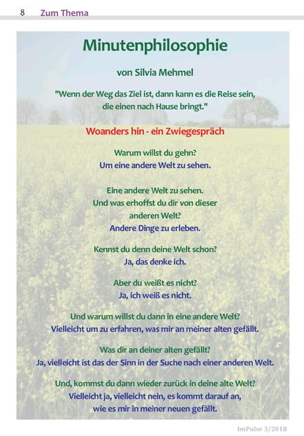 Minutenphilosophie, Poesie, Lyrik, Achtsamkeit, Wahrnehmung, Silvia Mehmel Kiel