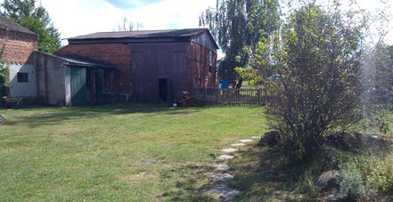Ein Bienenstand des Ökohof Fläming im Jerichower Land in Sachsen-Anhalt. Die Imkerei umfasst den Hauptteil der Arbeit. Grüne Bienenkästen vor einem kleinen Wäldchen in der Heide.