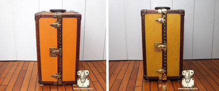 Louis Vuitton library trunk from 1926 The color of the canvas is not orange, this trunk has been repainted. we therefore had to strip it to discover the original color. Read more...