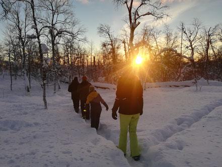 Schneewanderung bei Sonnenaufgang.