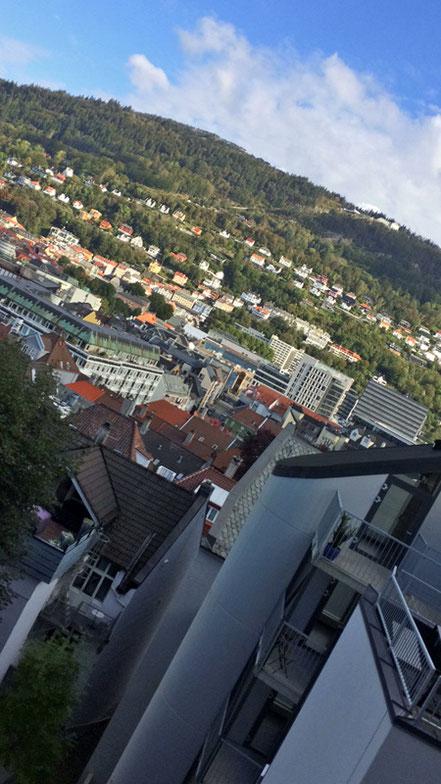 Der Ausblick aus meinem Zimmer auf die Stadt.
