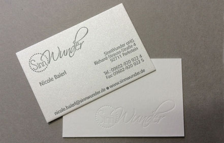 Letterpress Visitenkarten Design auf Gmund Cotton, Shiny Cream