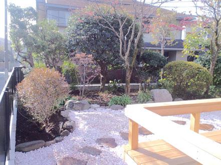 庭石施設、防草シート、飛石、砂利敷、植樹