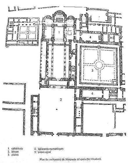 Monreale : Plan du site - Sicile - Italie - Cathédrale Santa Maria Nuova - Cloître des Bénédictins