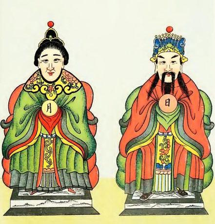Henri Doré : Recherches sur les superstitions en Chine. Deuxième partie : Le panthéon. Tome XII. Le roi du Soleil et la reine de la Lune.  — Variétés sinologiques n° 48. Zi-ka-wei, 1918.