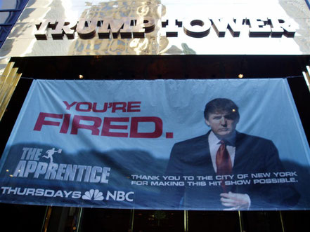 """You're fired!"", cult sentence of The Apprentice, Donald Trump's reality show (source Flickr, photo taken in 2005)"