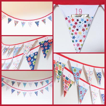 advent calendar bunting Christmas Xmas fabric flags pocketed winter garland