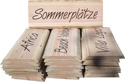 Campingplatz Holzschilder