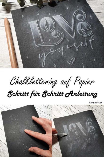 Chalklettering auf Papier - hier findest du eine Schritt für Schritt Anleitung wie du ganz einfach dein eigenes Kreidelettering auf Papier gestalten kannst.