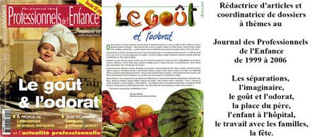 Article Journal des Professionnels de l'Enfance - Le goût et l'odorat - Véronique Maréchal
