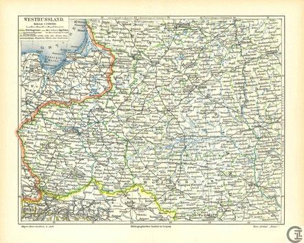 Historische Karte, Westrussland, Wolhynien, Polen, Galizien, Ostpreussen (1913) - Litauen, Polen, Weißrussland. Lost Places, Unlost Places