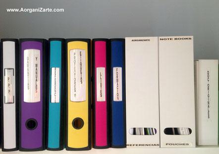 archivadores de anillas, revisteros y cajas con etiquetas - www.aorganizarte.com