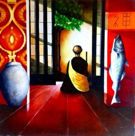 Sitting Monk    oilpainting on canvas   1mx1m . Prijs 650 euro inc btw