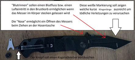 Rescue Tool von Victorinox (mitte) und das sehr gute Reality Blade von Böker (unten). Beim Böker kann man den Glasbrecher durch einen Aufsatz tauschen der einen Kugelschreiber vortäuscht.