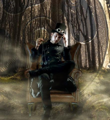 Werbebild Magier Johannes mit Steampunk Outfit