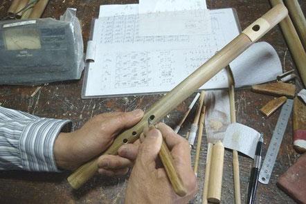 オリジナル横笛指孔開け指孔調律