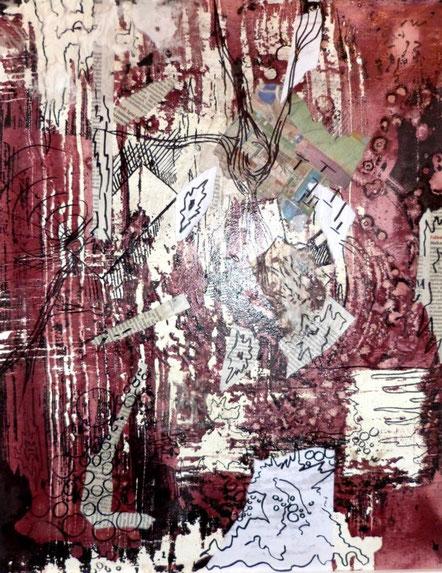 ohne Titel: 40 x 50 cm. Wachsreserviertechnik, Acrylmalerei, Collage mit Zeitung und Stiftzeichnung. 2015