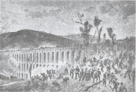 Battaglia ai Ponti della Valle. Stampa fornita da Enza Saccone.