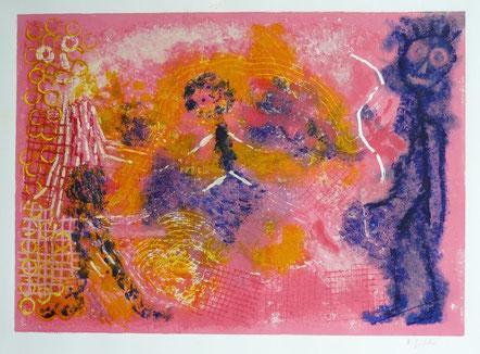Freudentanz: Monotypie, Materialdruck auf Papier, 35 x 47 cm, 2008