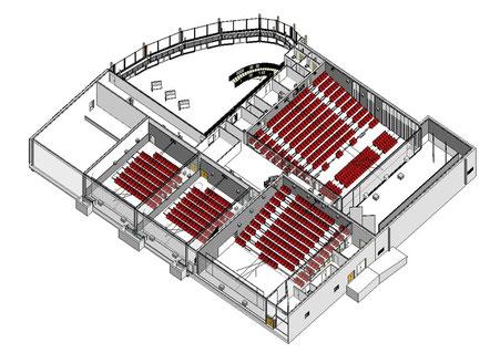 La maquette représentant la disposition des quatre salles de projection du cinéma La Dolce Vita.