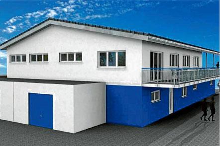 Anstelle des abgebrannten Sportheims soll bei den Anlagen des SVU ein Neubau mit Gastronomie entstehen. Visualisierung: SVU