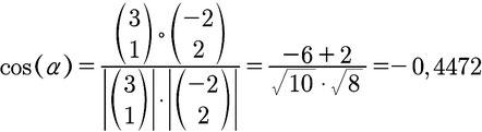 Beispiel für die Berechnung eines Winkels zwischen zwei Vektoren