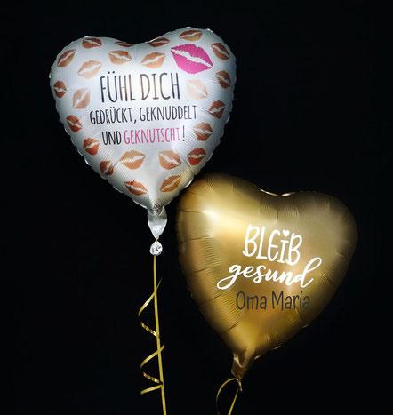 Ballon Luftballon Heliumballon Corona Krise Pandemie bleib gesund zuhause fühl dich gedrückt geknuddelt und geknutscht Versand Ballonpost Post Überraschung Herz Grüße Ballongrüße Oma Opa