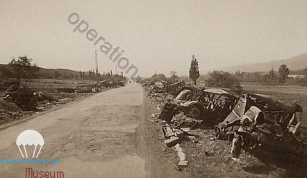 On the way to Lyon, what is left by the german army retreating.