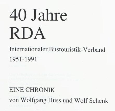"""Titelseite mit Aufschrift: 40 Jahre RDA : Internationaler Bustouristik-Verband : 1951-1991"""""""