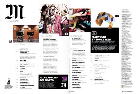 La manchette Damier illustre le sommaire de M le magazine du Monde de novembre 2012