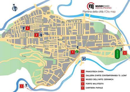 """Il complesso museale si articola in diverse sedi, nel centro storico di Ascoli Piceno: la Pinacoteca Civica, il Forte Malatesta, la Galleria d'Arte Contemporanea """"O. Licini"""",  il Museo dell'Arte Ceramica, i musei della Cartiera Papale"""