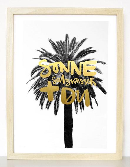 """Kunstdruck mit Goldeffekt""""Sonne, Salzwasser + Du"""""""