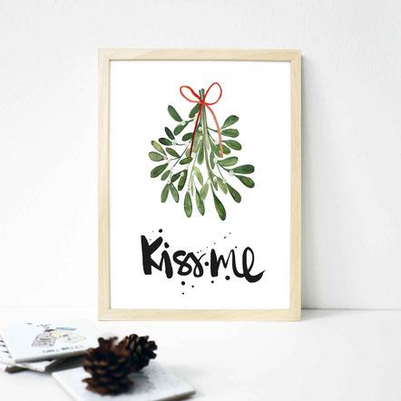 "Kunstdruck ""KISS ME - Mistelzweig"""