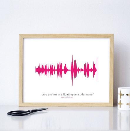"""Kunstdruck """"Dein Lieblingssong"""" - individualisierbar mit der Tonspur des Lieblingssongs!"""
